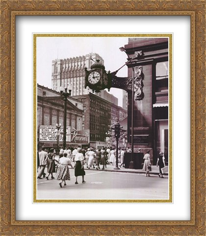 Clock Mounted on The Wall of a Building, Marshall Field Clock, Marshall Field and Company, Chicago, Illinois, USA 2X Matted 22x28 Large Gold Ornate Framed Art Print