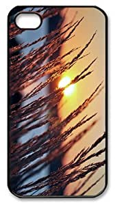 case new covers lakeside sunset grass PC Black Case for iphone 4/4S