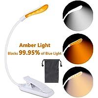 Lámpara de lectura con pinza de libro, 7 luces LED color ámbar, protección de los ojos, 3 temperaturas de color, brillo ajustable sin niveles, para leer por la noche, oficina, libro, cama