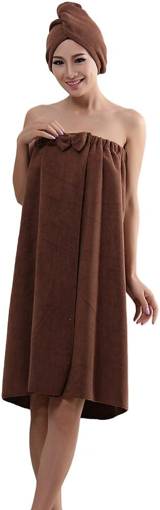 ZiXing Douce Bowknot Serviette de Bain Spa En Microfibre Super Soft Absortant Protable pour Femme Serie de Robe Tube Avec Bonnet de Douche