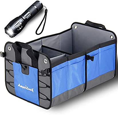 Collapsible Cargo Storage Container Portable AmeriLuck Trunk Organizer Water-Proof 1680D Oxford Polyester Gift Zoomable LED Flashlight Foldable