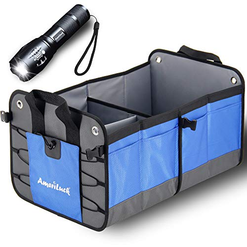 AmeriLuck Trunk Organizer, Cargo Storage Container, Portable, Collapsible, Foldable, Water-Proof 1680D Oxford Polyester Gift Zoomable LED Flashlight - Cube Organizer Trunk