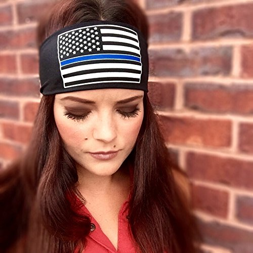 Thin Blue Line, Support Our Police. Sweat Wicking Headband. Sweatband & Sports Headband for Running, Crossfit, Working Out Or Around The House. Moisture - Runners Apparel