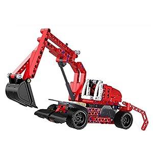 SZJJX Pull Back Excavators 2 in 1 Building Blocks Kits Friction Powered Let Go Monster Vehicle Truck Buildable Toys Construction Bricks Set 235PCS DIY Assembly SJ52012W