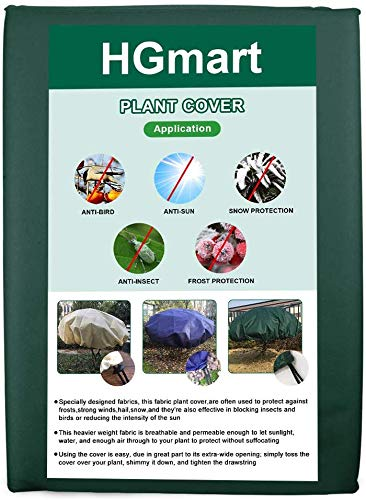HGmart Plant Cover for Frost Protection Frost Blanket Outdoor Anti-Freeze Jacket for Shrub Freeze Protection, Round 0.95ozdiameter 6ft 1pack Dark Green