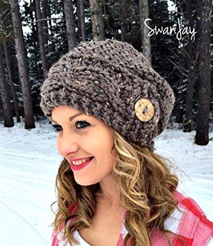 b9ef59e0703da Amazon.com  Slouchy Hat Slouch Beanie Trendy Button Cable Hand Knit Women s  Winter Knitted Gift Choose Color  Handmade