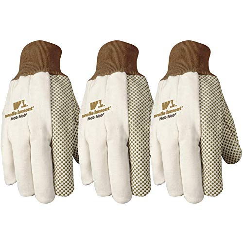 Wells Lamont 310F Wear Power Work Glove with Hob Nob Timber Dots, One-Size, 3-Pair