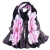 Wociaosmd Women Flower Print Chiffon Long Scarf Lightweight Shawl Wraps Autumn and Spring Scarf(Black,A)