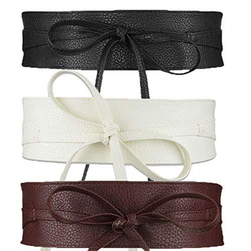 (Womtop 3 PCS Women Waist Belts Soft PU Leather Cinch Belt Self Tie Wrap Around Obi Waist Band Boho Belt (B(Black+White+Coffee)))