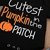 Halloween Baby Unisex Boys Girls Cutest Pumpkin in the Patch Bodysuits Pumpkin Witch Pants Hat Outfits 3pcs Set (0-6 Months, Black)