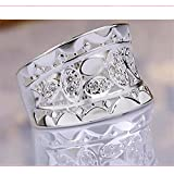 Size 7/8 Jewelry Wedding Solid Crystal Finger Silver Plated Ring Hollow LOVE STORY (7)