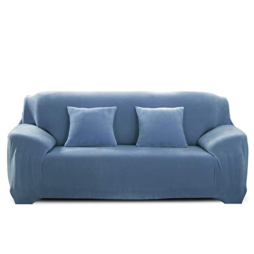 PETCUTE Fundas para sofá elásticas Cubre Sofa Fundas de sofá Terciopelo de 2 plazas sofá Fundas de Grueso Azul Claro