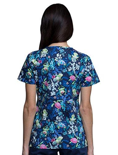 Cherokee Fashion Prints by Women's V-Neck Frog Print Scrub Top Large ()