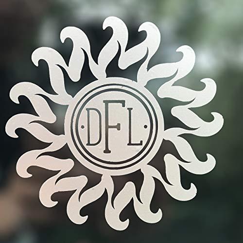 Custom Flame Tribal Sun Custom Initial Monogram Decal Bumper Sticker, for Tumblers, Laptops, Car Windows