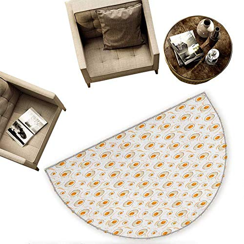 Egg Half Round Door mats Breakfast Food Pattern with Fried Eggs Healthy Protein Omelets Morning Meal Bathroom Mat H 55.1'' xD 82.6'' Marigold Peach Cream