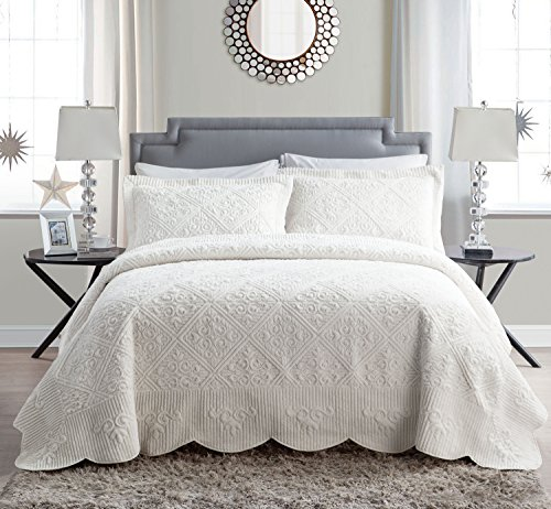 VCNY Home WS1-3BP-KING-IN-IV Westland Plush Quilted 3-Piece Bedspread Set, King, Ivory