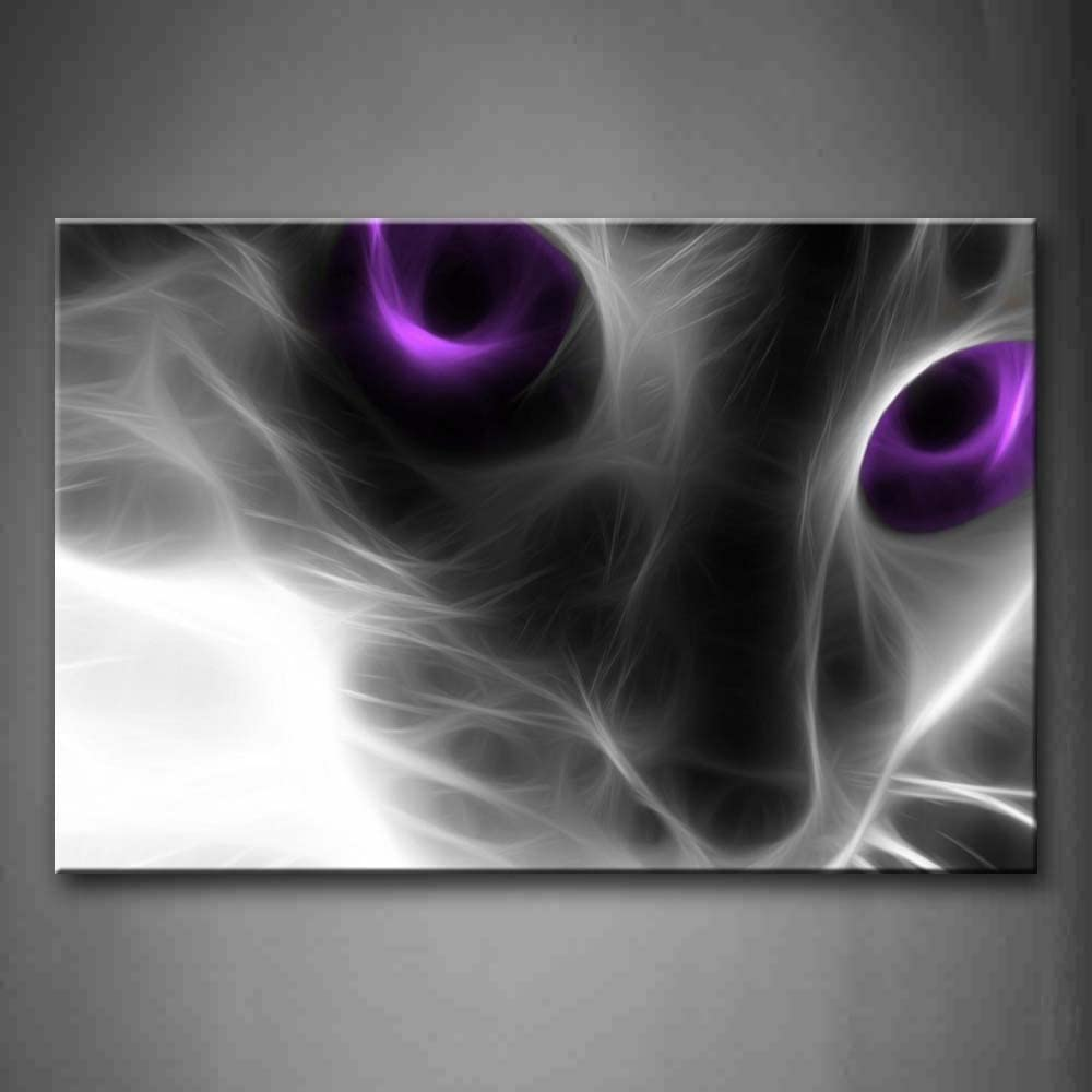 Cat with Purple Eyes Wall Art Painting Pictures Print On Canvas Animal The Picture for Home Modern Decoration