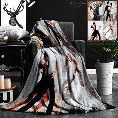 (Nalagoo Unique Custom Flannel Blankets Tango Dancers Oil Painting Girl Ballerina In Super Soft Blanketry for Bed Couch, Throw Blanket 40