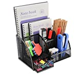 PAG Office Supplies Mesh Desk Organizer Pen Holder Accessories Storage Caddy with Drawer, 7 Compartments, Black
