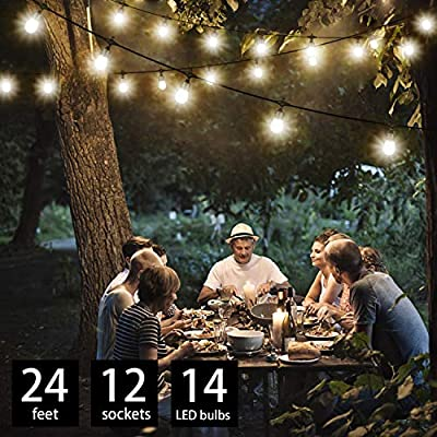 24Ft String Lights with LED Warm White Acrylic Bulbs, Patio Lights String with 12 Sockets and 14 Bulbs (2 spares), Weatherproof for Indoor/Outdoor use, Connectable Commercial Grade for Garden Deck