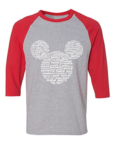 DisGear Name That Disney Character Adult Mickey Park Tee (Raglan Grey/Red - Prime, -