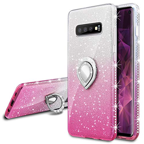 VEGO Galaxy S10 Glitter Gradient Ombre Case with Ring Holder Kickstand for Women Girls Bling Diamond Rhinestone Sparkly Bumper Fashion Shiny Cute Protective Case for Samsung Galaxy S10(Silver Pink)
