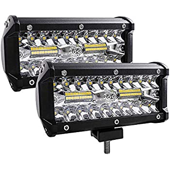 2pcs Waterproof Pod Light with DRL//Angel Eye Spot/&Flood Combo Beam Work Light for SUV//ATV//Jeep//Boat Yellow 7in 240W 24000LM Off Road Driving Light Zmoon LED Light Bar