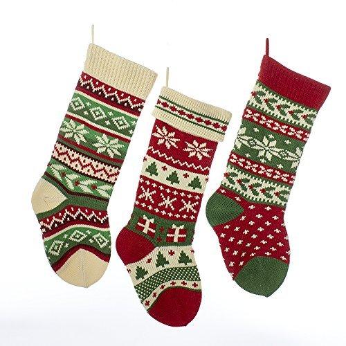 Kurt Adler Heavy Knit Snowflake and Chrismas Tree Stocking - 3 Assorted (Isle Fair Christmas Stockings)