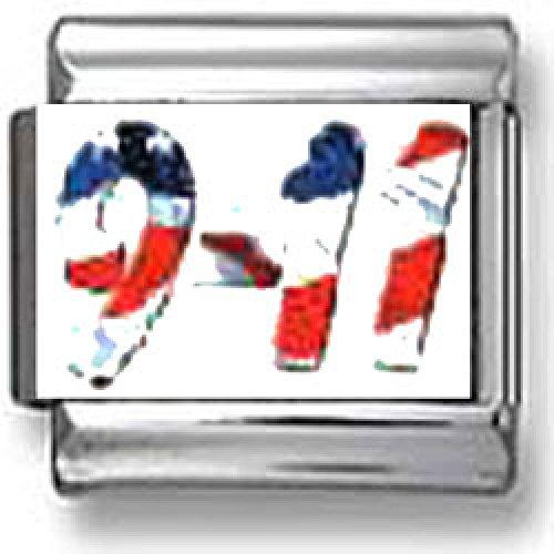9-11 American Flag Italian charm