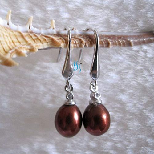 FidgetKute 7.0x8.5mm Freshwater Pearl Earrings Dangle Earrings D15H--More Colors Chocolate