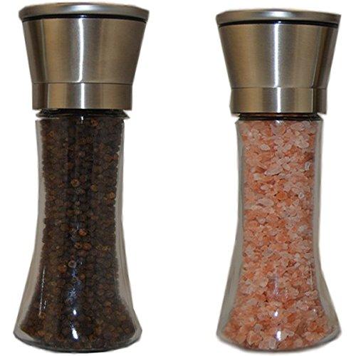 Salt and Pepper Shaker Set – Elegant Brushed Stainless Steel Grinder Set Of 2 – Adjustable Coarseness – High Capacity