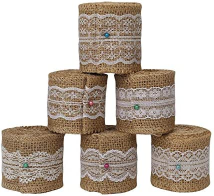 Burlap Lace Natural Craft Ribbon Roll Jute Trims for DIY, Rustic