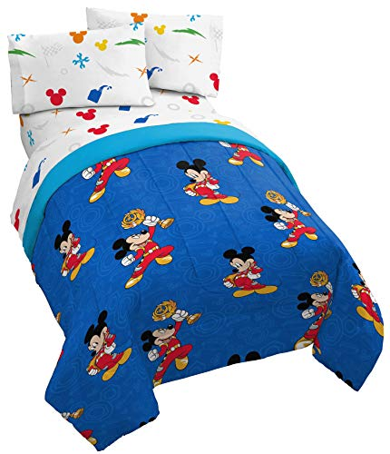 Jay Franco Disney Mickey Mouse Trophy 4 Piece Twin Bed Set - Includes Reversible Comforter & Sheet Set - Super Soft Fade Resistant Polyester - (Official Disney Product)]()