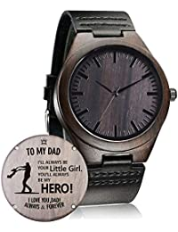 Customized Engraved Wooden Watch, Casual Handmade Wood Watch for Men Women Family Friends Customized Gift (A-for Dad from Daughter)