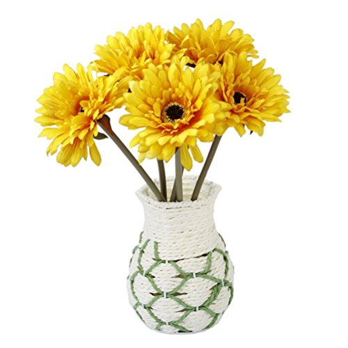 ULTNICE 5pcs Wedding Gerbera Daisy Artificial Flowers for Home Decoration (Yellow)