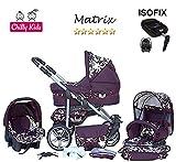 Chilly Kids Matrix II Kinderwagen Safety-Set (Autositz & ISOFIX Basis, Regenschutz, Moskitonetz, Schwenkräder) 36 Bordeaux & Bordeaux Blumen