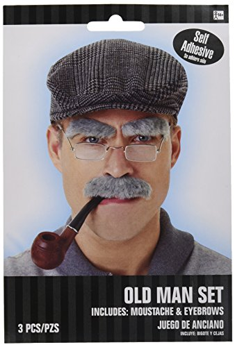 Halloween Facial Hair - Wacky Old Man Facial Hair Set, Moustache and Eyebrows, Self Adhesive, 2 piece