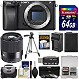 Sony Alpha A6300 4K Wi-Fi Digital Camera Body (Black) with Sigma 30mm f/1.4 Lens + 64GB Card + Case + Battery & Charger + Tripod + Filters Kit