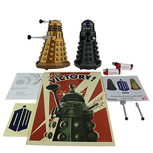 Doctor Who Assault Dalek + Dalek Sec Bluetooth Speaker Pack with MIC, LEDs and Sound Effects - Dalek Figure, Unique Gifts for Men or Women - Christmas Gifts Birthday Anniversary Toy Geek Nerd Collect (Stream Tv Me Once Upon A Time)