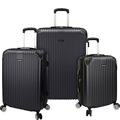 Traveler's Choice Charvi 3 Piece Expandable Spinner Luggage Set (Slate Grey) For Sale