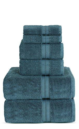 TURKUOISE TURKISH TOWEL Premium Turkish Cotton Double Border Towel Set - Eco Friendly,Bath Towels, Hand Towels, Wash Clothes (Double Border-True Blue, 6) by TURKUOISE TURKISH TOWEL