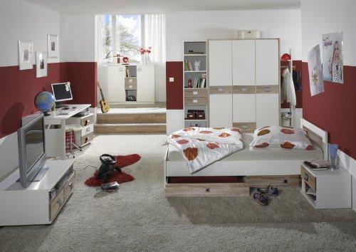 11tlg Kinderzimmer weiß - Eiche Kleiderschrank Sideboard Bett Schreibtisch