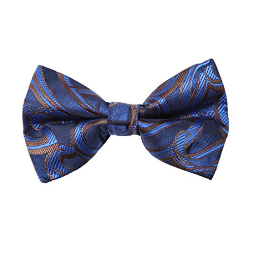 Dan Smith DBD7B27A Dark Blue Brown Patterned Microfiber Mens Bow Tie Popular For Wedding Pre-tied Bow Tie