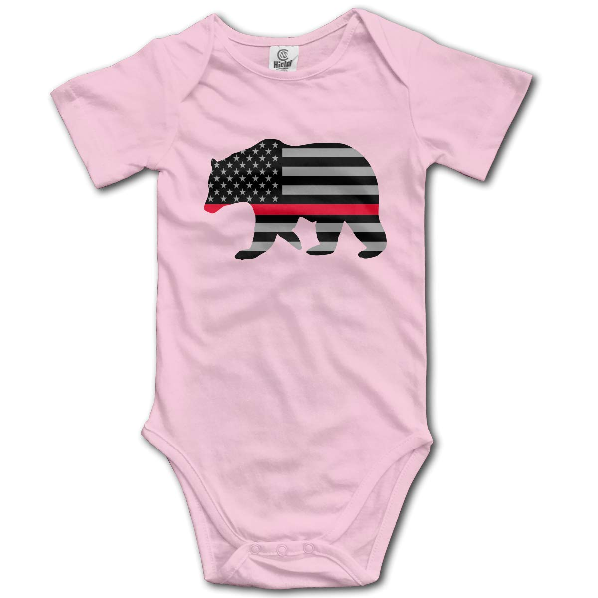 CUTEDWARF Baby Short-Sleeve Onesies American Red Thin Line Flag Bodysuit Baby Outfits