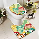 SOCOMIMI U-Shaped Toilet Mat Bingo Game Ball Cards Pop Art Stylized Lottery Hobby Celebration Theme Washable Non-Slip