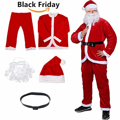 Christmas Santa Claus Costume With Beard,Velvet Men's Deluxe Santa Suit,Red,M To L Santa Costumes
