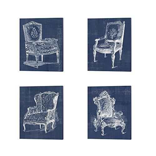 (Antique Chair Blueprint A by Vision Studio, 4 Piece Canvas Art Set, 8 X 10 Inches Each, Furniture Art)
