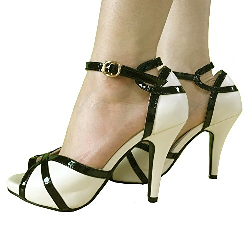 Toes Peep White Ivory Black Buckle Women's Sandals Heeled Dress getmorebeauty tI5wqRt
