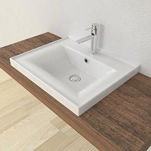 arredo Bagno mensola lavabo casa VE.CA Lavabo ad Incasso Sava 55 in Ceramica Bianca di Alta qualit/à
