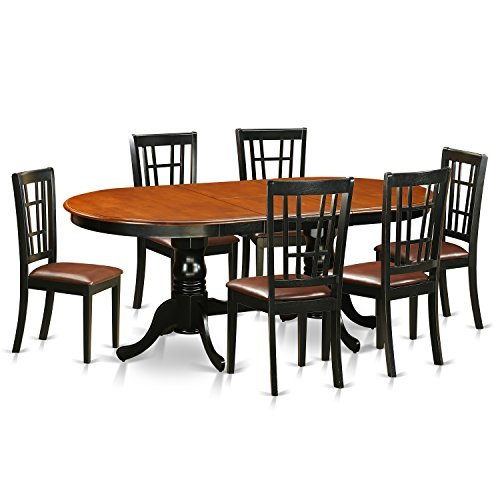 East West Furniture PLNI7-BCH-LC 7 Piece Table with 6 Solid Wood Chairs Set -